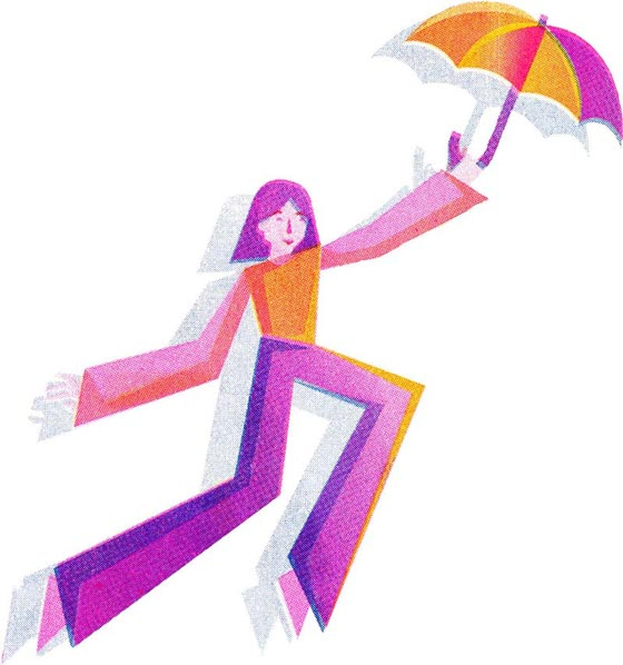 Humanitas illustration of a mary poppins like person flying away under an umbrella