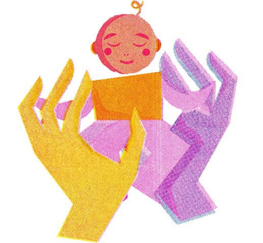 Humanitas illustration of a baby being hold in two hands